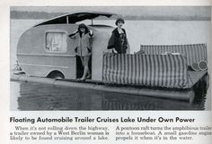 Floating Automobile Trailer Cruises Lake Under Own Power. August 1954