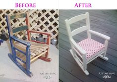 Upholstering a kid's rocking chair. Need to do this to the kids rocking chair! Reclaimed Furniture, Refurbished Furniture, Repurposed Furniture, Kids Furniture, Furniture Makeover, Accent Furniture, Vintage Furniture, Painted Furniture, Rocking Chair Makeover