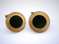 Gold tone patterned abstract round cuff link from by badgestuff, $4.00