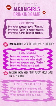 """The Totally Official """"Mean Girls"""" Drinking Game.fun for movie night Mean Girls Drinking Game, Movie Drinking Games, Drinking Games For Parties, Friends Drinking Game, Halloween Drinking Games, Mean Girls Party, Drunk Games, Funny Games, Games For Girls"""