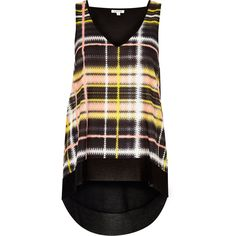 Checked woven fabric Relaxed fit V-neck Sleeveless Dipped hemline