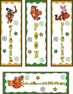 pooh and tiger halloween bookmarks printable - Halloween Bookmarks To Color