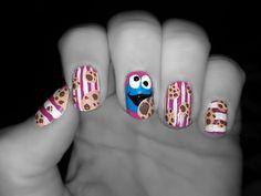 Cookie Monster nails Funky Nails, Love Nails, Perfect Nails, Gorgeous Nails, Cookie Monster Nails, Long Nail Art, Types Of Nails, Nail Artist, Tattoos