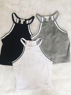 Nathalie Sport Crop Tank (Gray, White, Black)