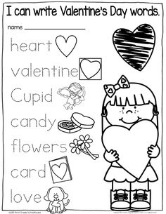 Valentine's Day kindergarten writing activities.