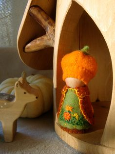 Marigold Pumpkin Cap Gnome waldorf inspired natural dollhouse doll storytelling - geen patroon