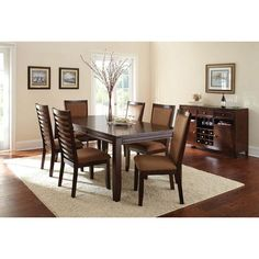 Lowest price online on all Steve Silver Company Cornell 7 Piece Rectangular Dining Table Set in Espresso - Dining Buffet, Extendable Dining Table, Dining Table Chairs, Side Chairs, Buffet Set, Room Chairs, Kitchen Dining, Steve Silver Furniture, White Furniture