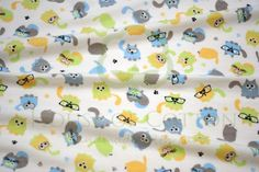 Colorful cats flannel fabric