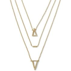 Banana Republic Triangle Layered Necklace Size One Size ($34) ❤ liked on Polyvore featuring jewelry, necklaces, accessories, gold, triangle necklace, imitation jewelry, layered necklace, multi layer necklace and artificial jewellery