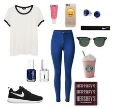 """Normal Day Out (READ D.!!!)"" by ahriraine ❤ liked on Polyvore featuring A.P.C., Madame Milly, Casetify, NIKE, Ray-Ban, Bling Jewelry, Essie and Hershey's"
