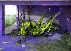 recycling trash for colorful artworks created with bright paint