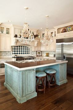 coastal kitchen with turquoise island | Blue Sky Environments Interior Decor