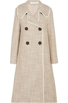 See by Chloé - Double-breasted Faux Leather-trimmed Tweed Coat - Beige - FR