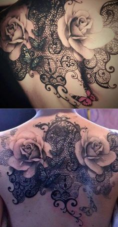 Rose & Lace Tattoo// Back Tattoo Ideas// Rose Tattoo Ideas// Lace Tattoo Ideas// Black & Grey Tattoo Ideas