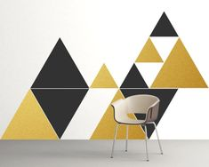 New Wall Decals Geometric Mid Century Modern 34 Ideas Wall Stickers Geometric, Geometric Wall Paint, Wall Decor, Room Decor, Wall Art, Office Wall Decals, Office Paint, Triangle Wall, Cool Walls