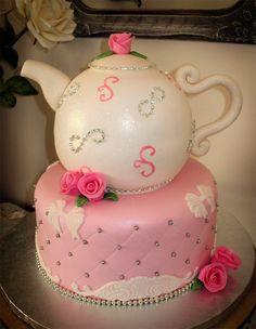 Teapot Cake:) Pretty Cakes, Cute Cakes, Beautiful Cakes, Yummy Cakes, Amazing Cakes, Fancy Cakes, Mini Cakes, Teapot Cake, Cupcake Cookies
