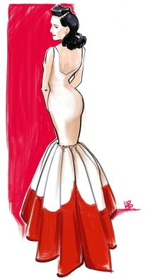 Dita von Teese at MET gala illustration fashion illustration by Hilbrand Bos