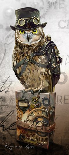 Look out folks, serious Competition arriving on this Board.Steampunk Owl by Kajenna on DeviantArt Steampunk Cosplay, Steampunk Kunst, Steampunk Artwork, Mode Steampunk, Gothic Steampunk, Steampunk Fashion, Steampunk Images, Steampunk Clock, Cyberpunk