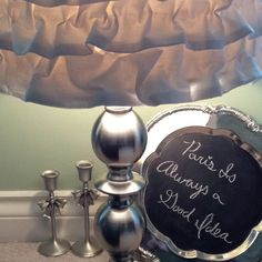 My DIY ruffle lamp & chalk board, plus some adorable candle sticks I found! Candle Sticks, Chalk Board, Lamps, Table Lamp, Candles, Diy, Crafts, Home Decor, Lightbulbs