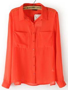 Orange Long Sleeve Twin Pockets Front Semi Sheer Blouse US$21.94