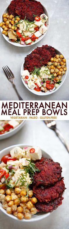 Meal Prep Mediterranean Bowls {Paleo option, vegetarian, Meatless Monday Inspiration} - Lexi's Clean Kitchen