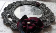 Grey crochet collar with red tartan flower. https://www.etsy.com/uk/listing/167564805/grey-crochet-necklace-collar-with-red?ref=shop_home_active