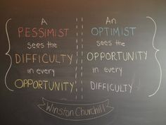"""""""a pessimist sees the difficulty in every opportunity. an optimist sees the opportunity in every difficulty"""" - Winston Churchill Winston Churchill, Churchill Quotes, Positive Words, Positive Attitude, Positive Quotes, Work Quotes, Quotes To Live By, Quotes Motivation, Quote Life"""