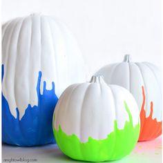 No-carve Halloween Pumpkin DIY: Neon dipped pumpins