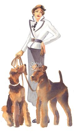 Sarah Bell's Fashion Divas - Ladies With Dogs 1 Terrier Airedale, Irish Terrier, Terrier Mix, Silly Dogs, Fox Art, Dog Supplies, Mans Best Friend, Animals And Pets, Puppy Love