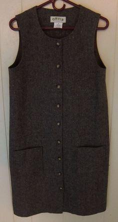 Orvis Brown Charcoal Wool Tweed Sleeveless Jumper Dress Lined Women's 8 #Orvis #Shift