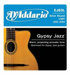 "D'Addario EJ83L Gypsy Jazz Acoustic Guitar Strings, Ball End, Light, 10-44 by D'Addario. $7.99. From the Manufacturer                EJ83L ball end gypsy jazz acoustic guitar strings are designed and gauged for rhythm and strumming patterns associated with ""Django"", jazz-style guitar. D'Addario Gypsy Jazz strings are specially designed for the ""Django"" style. Silver-plated Copper is wound on a high carbon steel core, delivering a warm, projecting tone optimal for any Gypsy Jazz..."