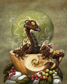 Coffee Dragon Print by Stanley Morrison