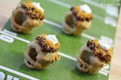 great idea! football helmet pretzel cups http://www.1finecookie.com/2012/02/savory-football-helmet-pretzel-cupcakes-or-pretzel-cups-whatever/#