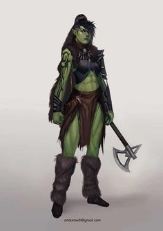 f Half Orc Barbarian Battle Axe d&d RPG Female Character Portraits Fantasy Races, Fantasy Warrior, Fantasy Rpg, Fantasy Girl, Orc Warrior, Fantasy Women, Dungeons And Dragons Characters, Dnd Characters, Fantasy Characters