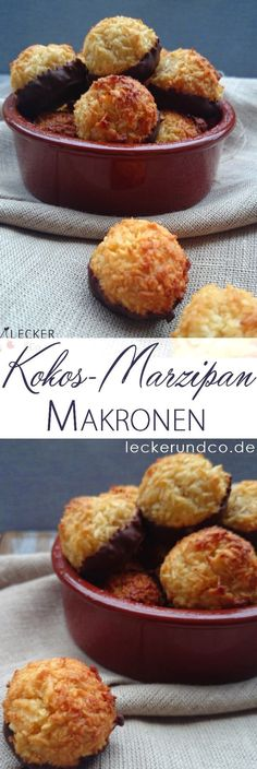 Coconut macaroons with marzipan - Rezepte - Herbal life Chocolate Cookie Recipes, Easy Cookie Recipes, Chocolate Chip Cookies, Snack Recipes, Dessert Recipes, Mini Desserts, Cookies Et Biscuits, Cake Cookies, Making Cookies