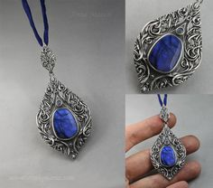 """Sindarin - Elei II - hand formed silver and beautiful labradorites. This piece is part of a collection inspired by Sindarin - Grey Elves' language. Elei means """"dreams"""". www.drakonaria.com by Anna Mazon."""