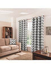 George Home Charcoal Chevron Eyelet Curtains