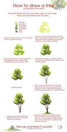 水彩画树的画法(2)这个上面很详细的介绍了树的画法,快快收藏吧,大家一起进步!!!