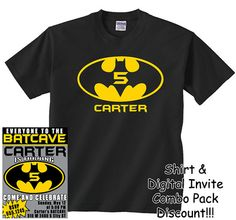 BATMAN HAPPY BIRTHDAY T SHIRT Personalized Any Name Age Party Favor 2T ADULT