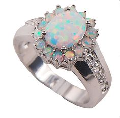 Stunning Dress Opal Ring with Centre stone surrounded with round opals from Opal Jewelry Express