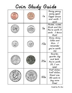 Here's a simple coin study guide that will make a nice reference for students. Includes a poem for each coin value.