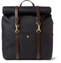 Mismo Leather-Trimmed Canvas Backpack | MR PORTER