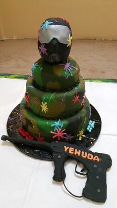 Paintball birthday party cake! More