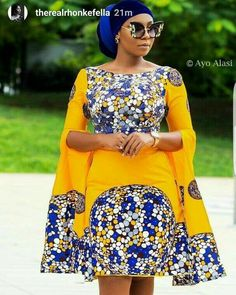 The complete collection of Exotic Ankara Gown Styles for beautiful ladies in Nigeria. These are the ideal ankara gowns Short African Dresses, Latest African Fashion Dresses, African Print Dresses, African Print Fashion, African Queen, Look Fashion, Fashion Models, Fashion Decor, Ankara Gown Styles