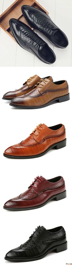 Men Brogue Style Genuine Leather Pointed Toe Business Formal Shoes. Size: us6.5~us10. US$56.03 + Free Shipping.  Formal shoes for man. Men's style, chic style, fashion style. Shop at banggood with super affordable price.