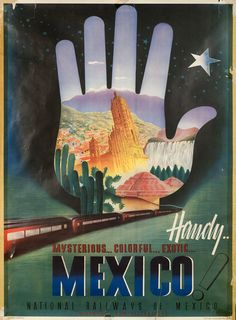 Mexico! National Railways of Mexico 1950s Mexican B1 Poster