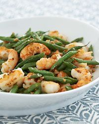Stir fried green beans with shrimp and garlic... I bet it is also good with chicken or thin steak for the allergy-prone