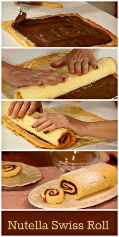 Nutella Swiss Roll. http://www.ifood.tv/recipe/nutella-swiss-roll-recipe