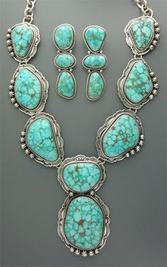 Sterling silver and natural turquoise Navajo necklace & earrings