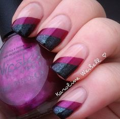 Black and plum nails